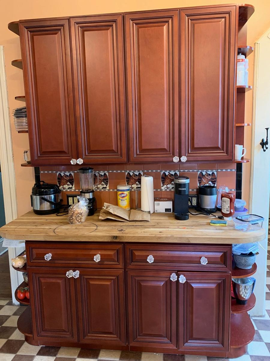 butcher block prep station