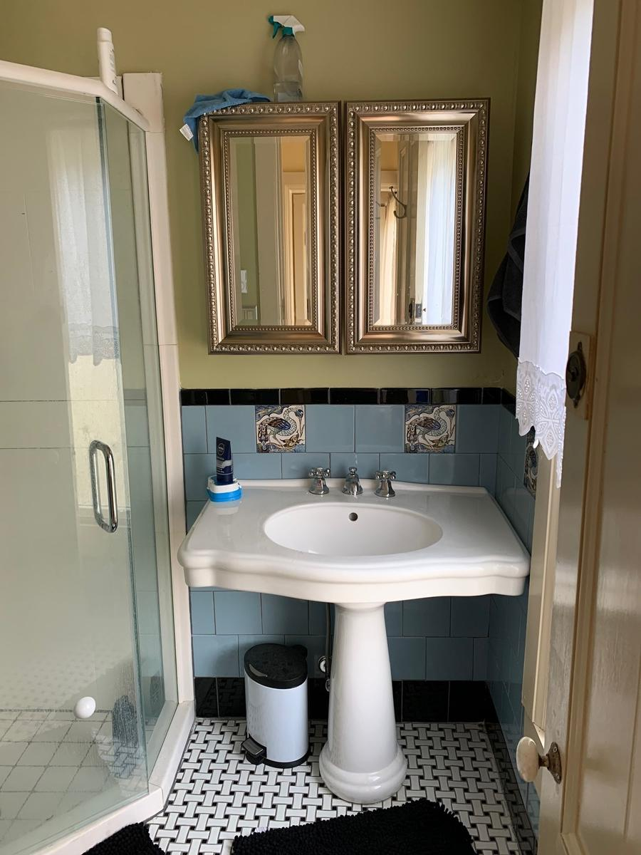 new bathroom with double medicine cabinets