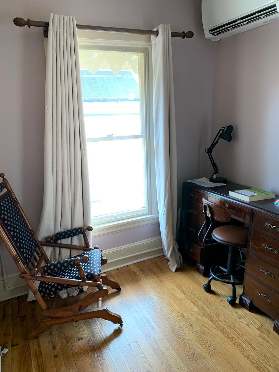 study alcove in bedroom, original hardwood floors
