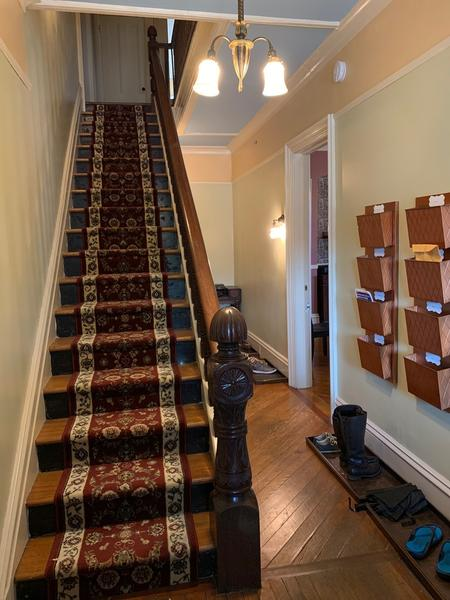 Downstairs front hall; shoes off in the house